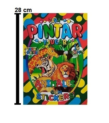 1690 – LIBRO PARA COLOREAR ANIMALES 16 PAG CON STICKERS TAZOS